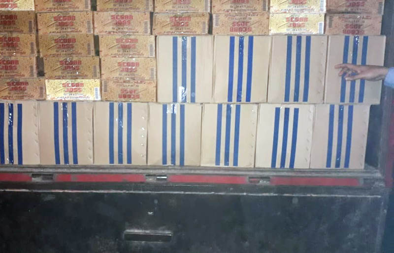 Ratusan doos miras dari wilayah Sulawesi Utara dan hendak dibawa ke wilayah Pohuwato, Gorontalo diamankan Korem 133/Nani Wartabone, Sabtu (29/12/2018) malam