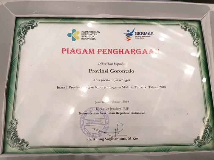 Piagam Penghargaan Atas Prestasi sebagai Juara 1 Provinsi dengan Kinerja Program Malaria Terbaik Tahun 2018